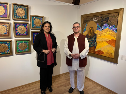 Indian Ambassador to the EU and Belgium Gaitri Kumar Issar at MOSA in Radhadesh during the exhibit of Seema Kohli with Martin Gurvich/Mahaprabhu dasa Director of MOSA
