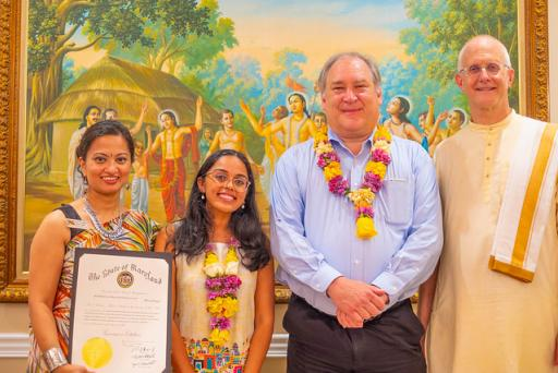 Anuttama Das, ISKCON Communications Global Director, honoring Maryland state dignitaries