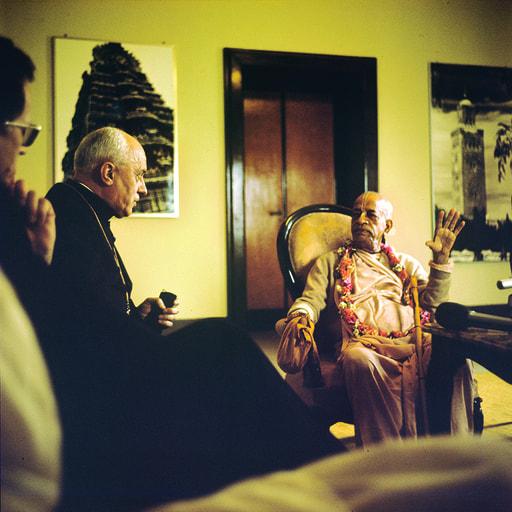 Srila Prabhupada in Vatican, Rome - Meeting with Cardinal Pignedoli