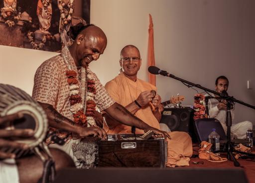 ISKCON devotees performing live kirtan